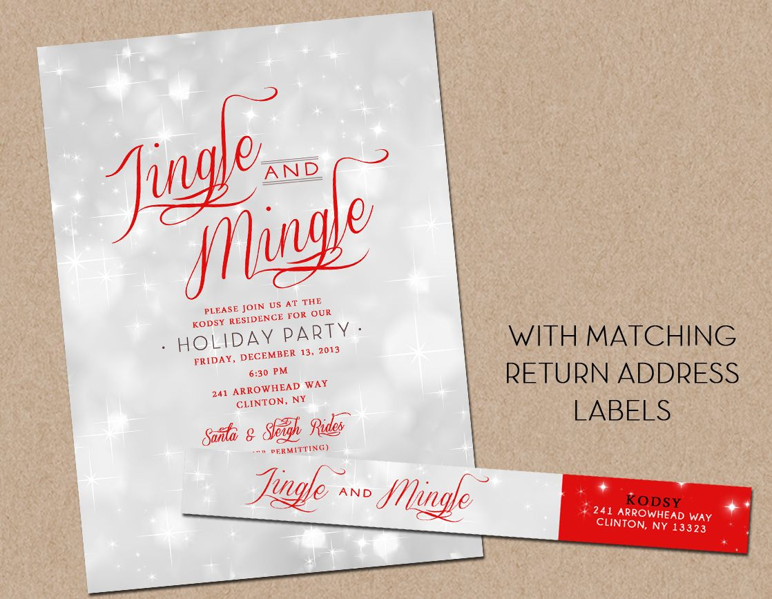 Holiday Party Invitation with matching Return Address Label
