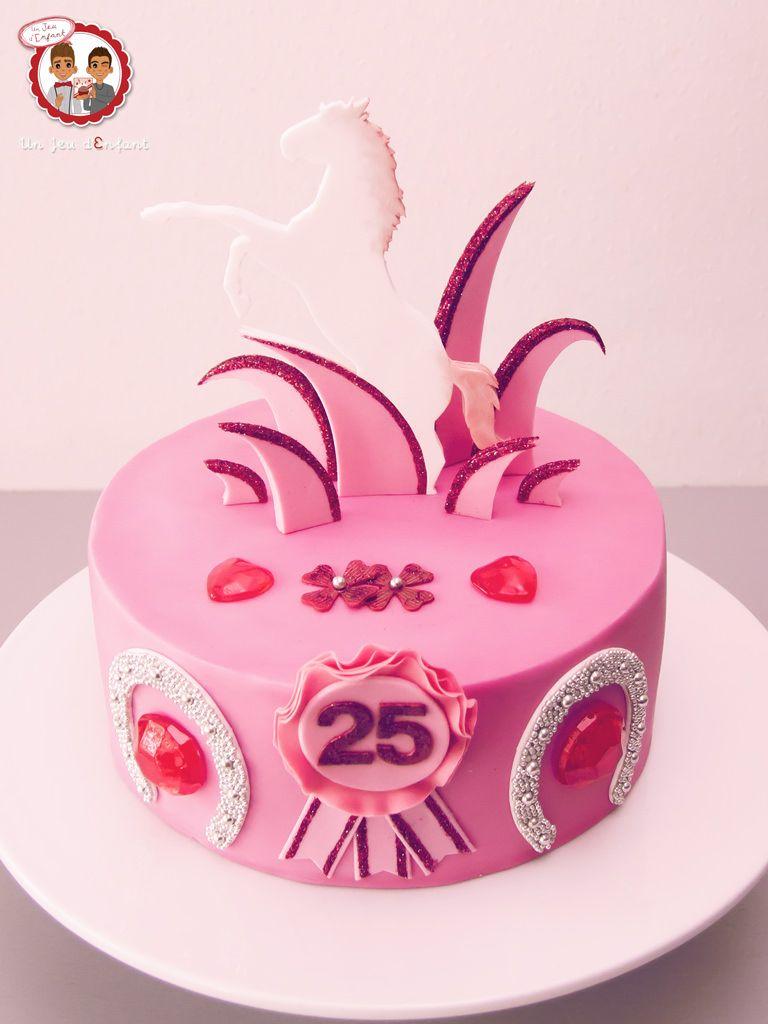 Gâteau Cheval Strass Et Paillettes Horse Glitter Pink Cake Un