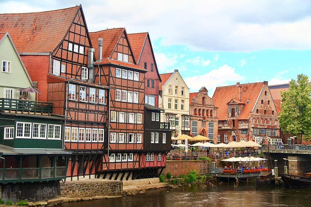 Luneburg Stintmarkt And The Ilmenau River As Seen From