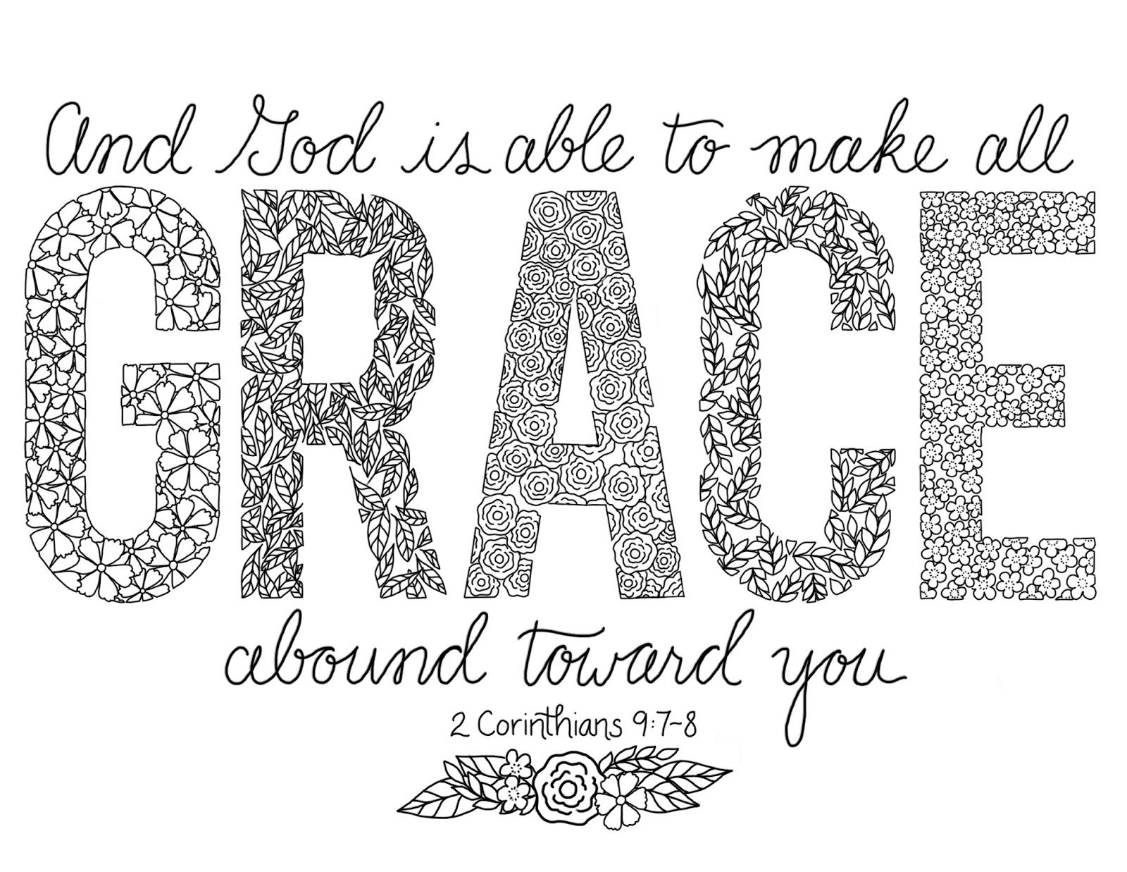 Grace Coloring Page 7 Quote Coloring Pages Scripture
