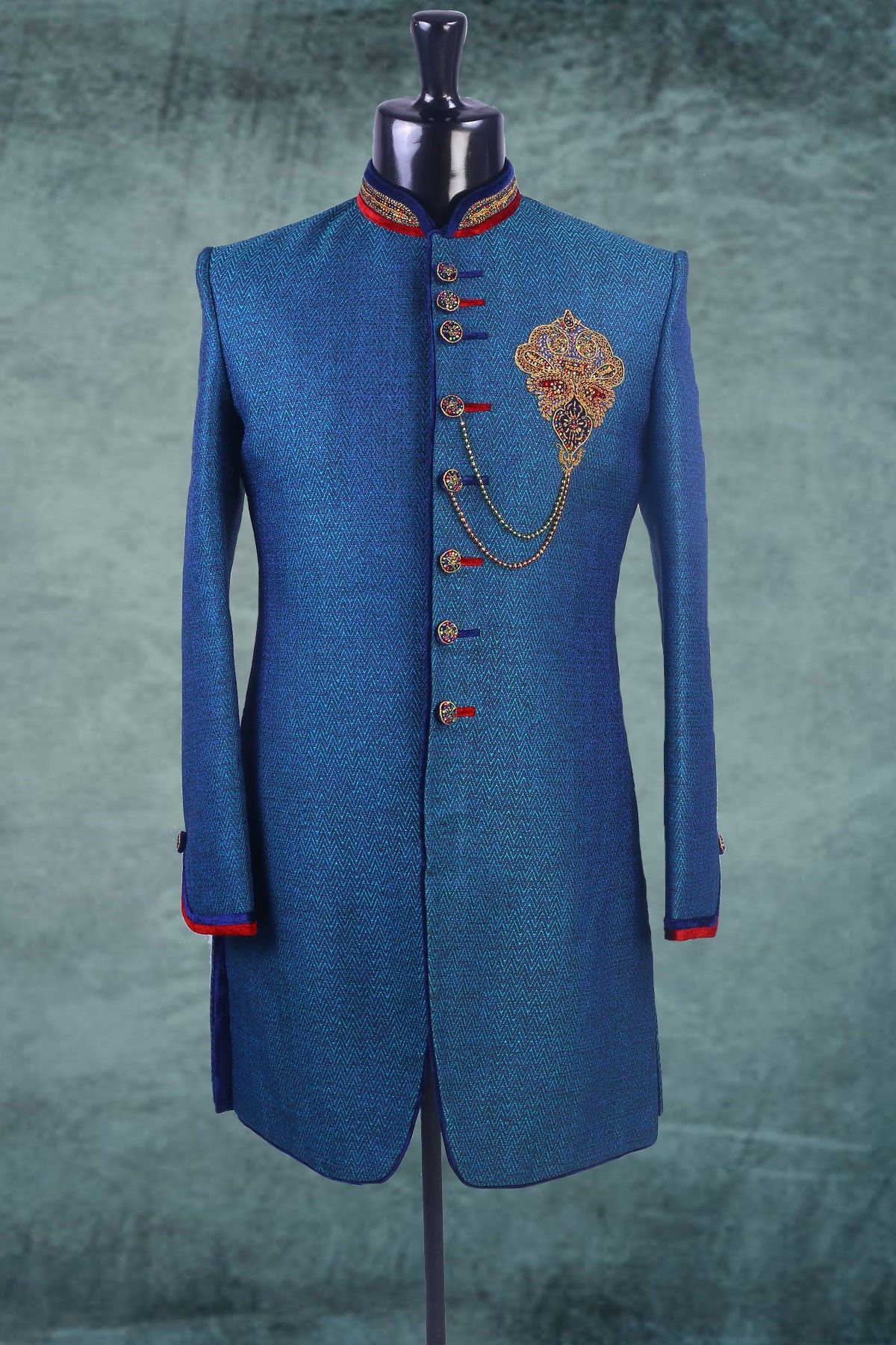 Royal #blue #linen zari worked Indo-western #Sherwani -IW164 ...