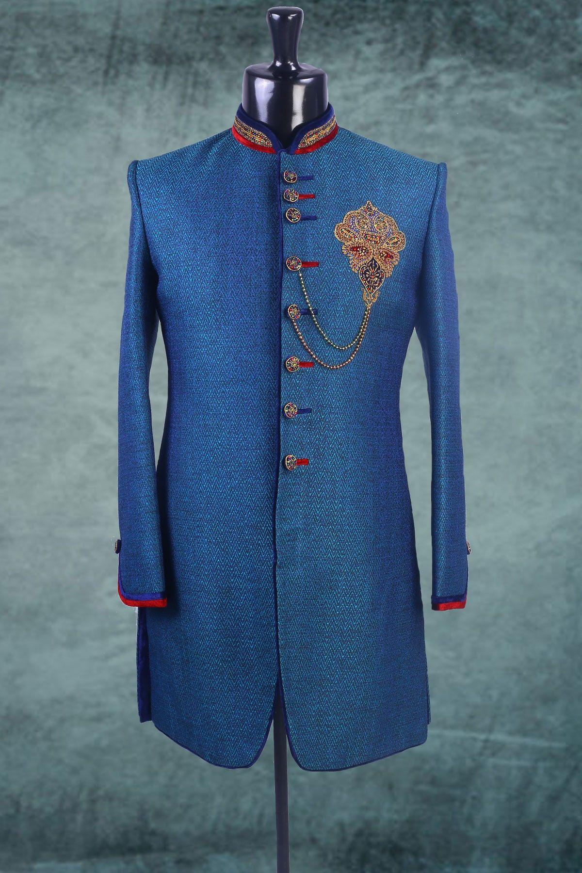 Royal #blue #linen zari worked Indo-western #Sherwani -IW164 ...