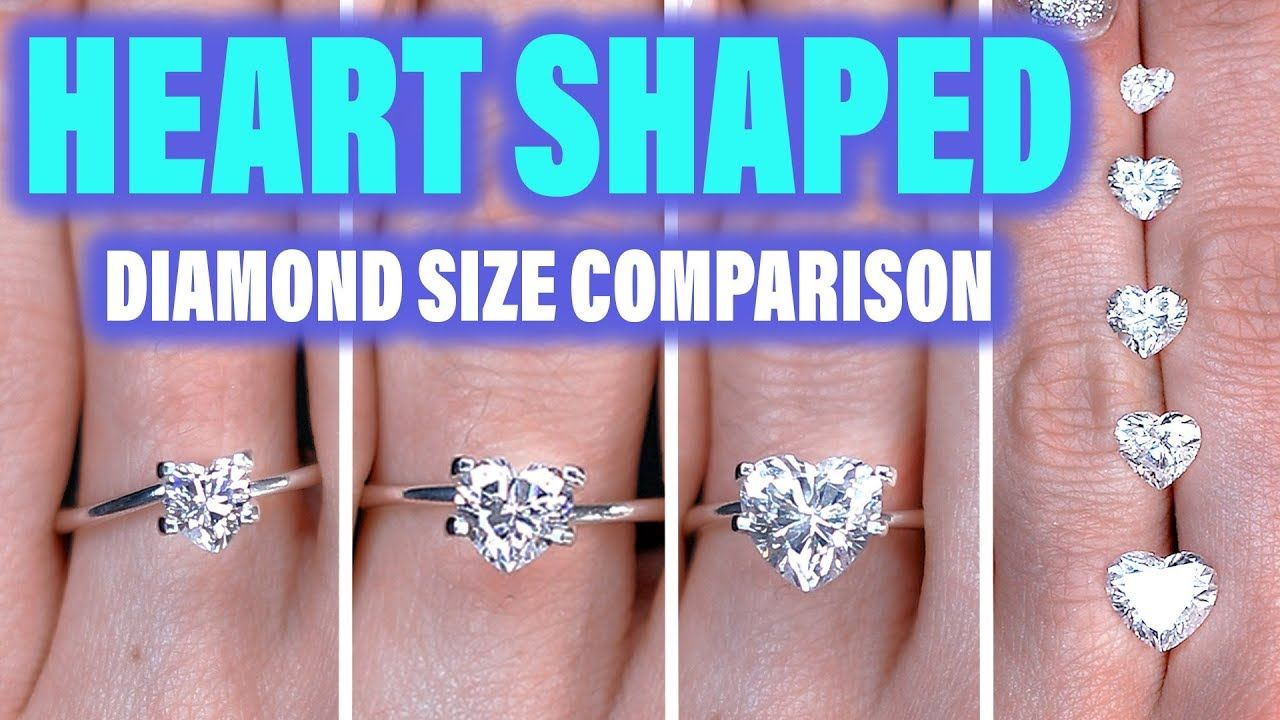 Heart Shaped Diamond Ring Size Comparison On The Hand Finger 1 Carat En Heart Shaped Diamond Ring Heart Shaped Diamond Diamond