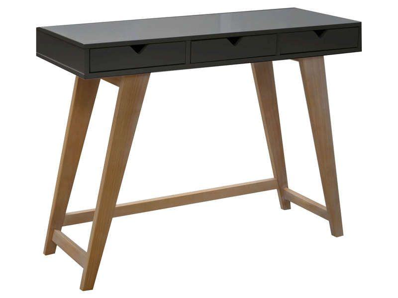 console 3 tiroirs gaudi coloris anthracite ch ne vente de console et gu ridon conforama. Black Bedroom Furniture Sets. Home Design Ideas