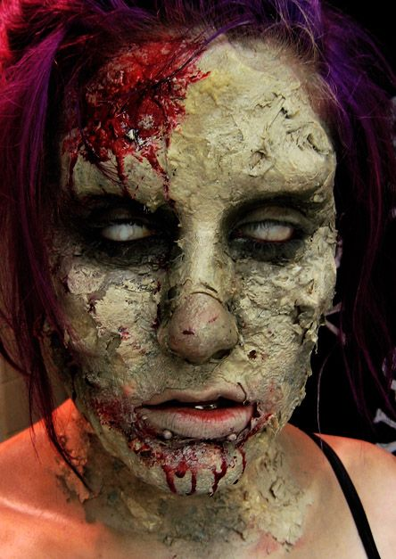 Quick construction zombie makeup using Latex, wax, cotton, tissue ...