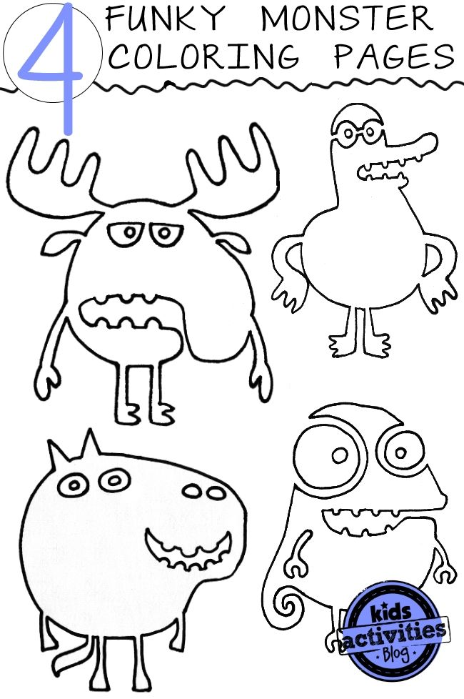 4 Funky Monster Coloring Pages