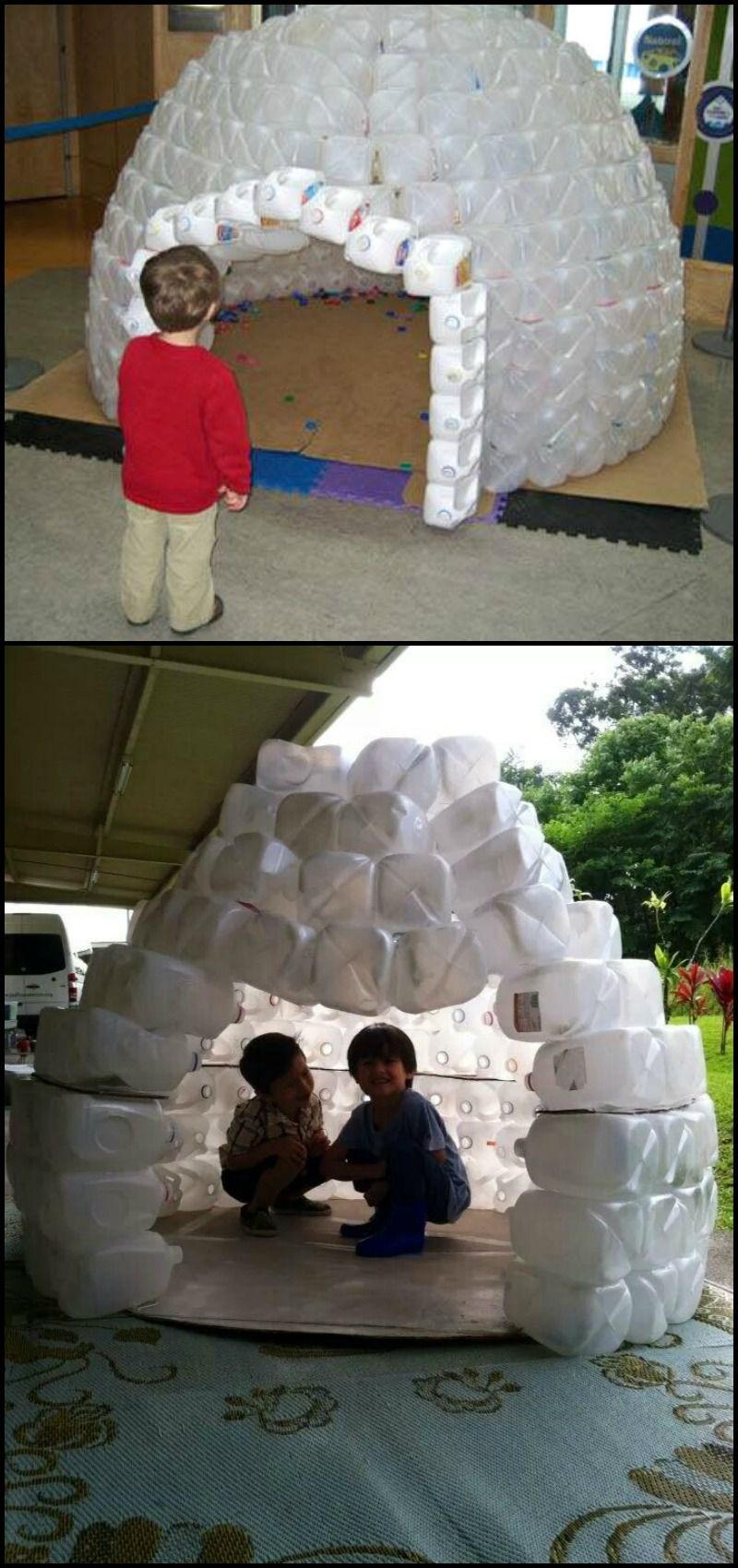 How to build a milk jug igloo http diyprojects for How to build an igloo out of milk jugs