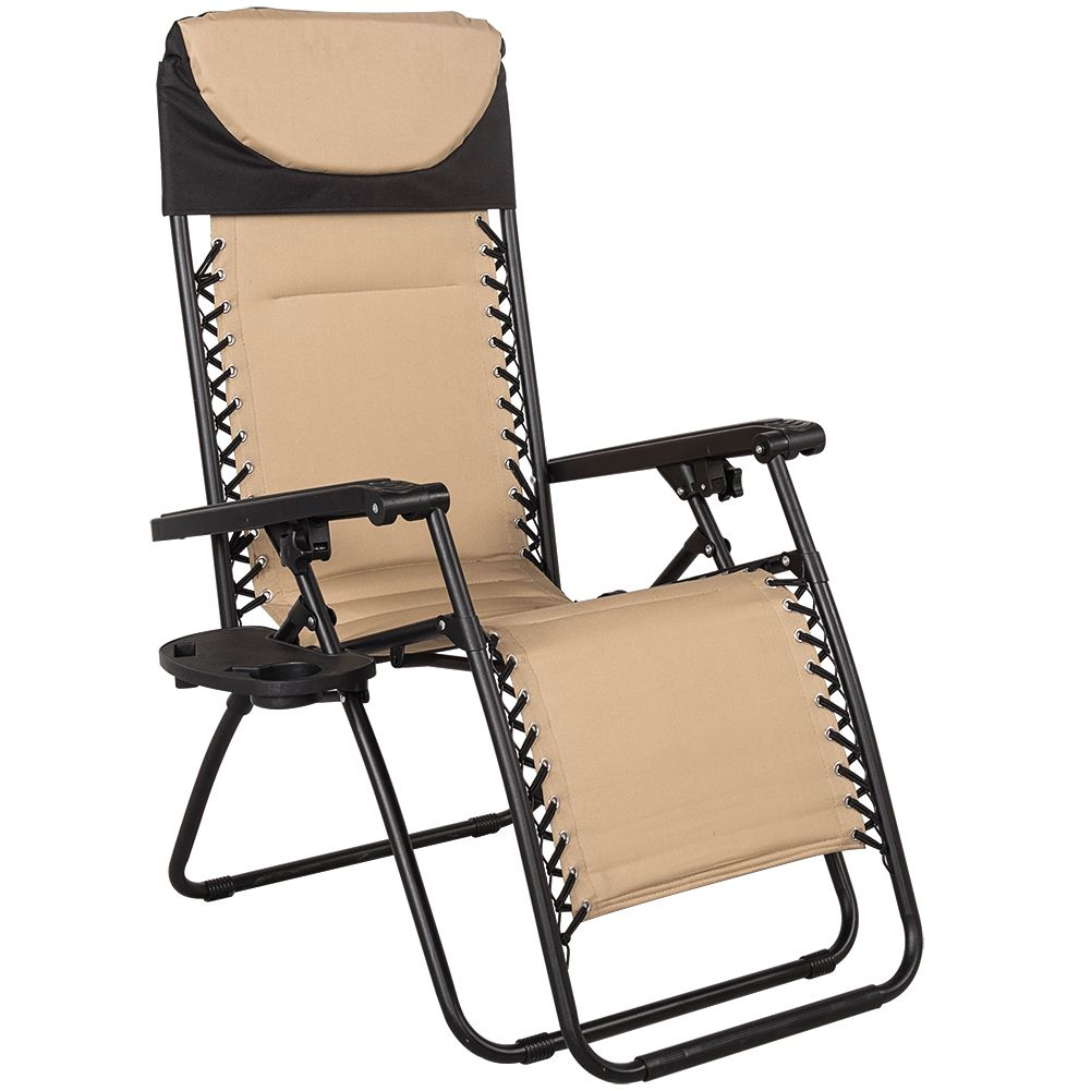 Quilted zero gravity reclining chair with head pillow and utility tray tan dfscornergiveaway11 dkgiveaway donutsgiveaway drcrazegiveaway