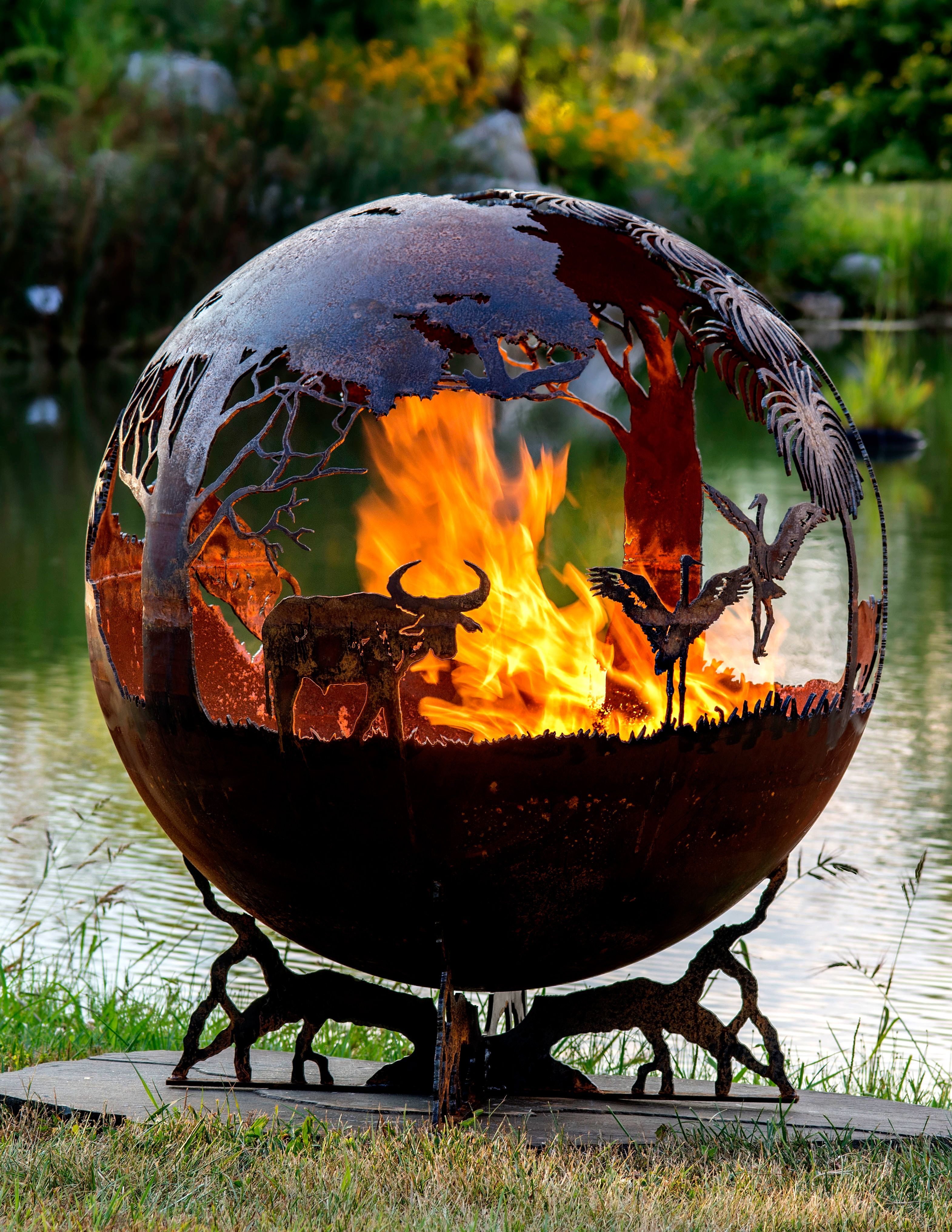 outback australia fire pit sphere wood or gas burning firepit