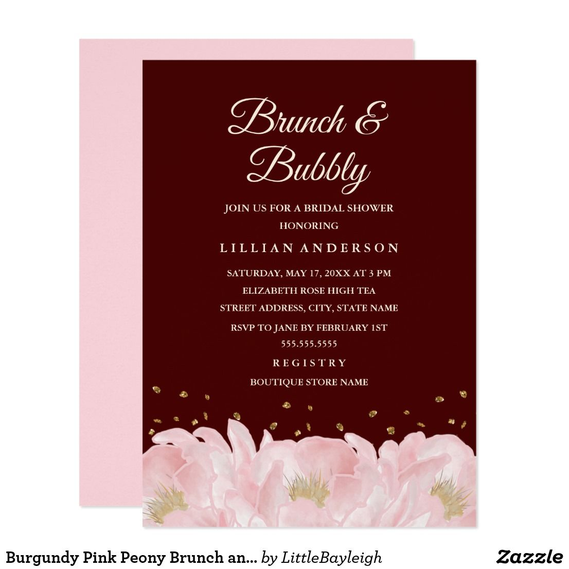 Burgundy Pink Peony Brunch and Bubbly Shower Card | Bridal Shower ...