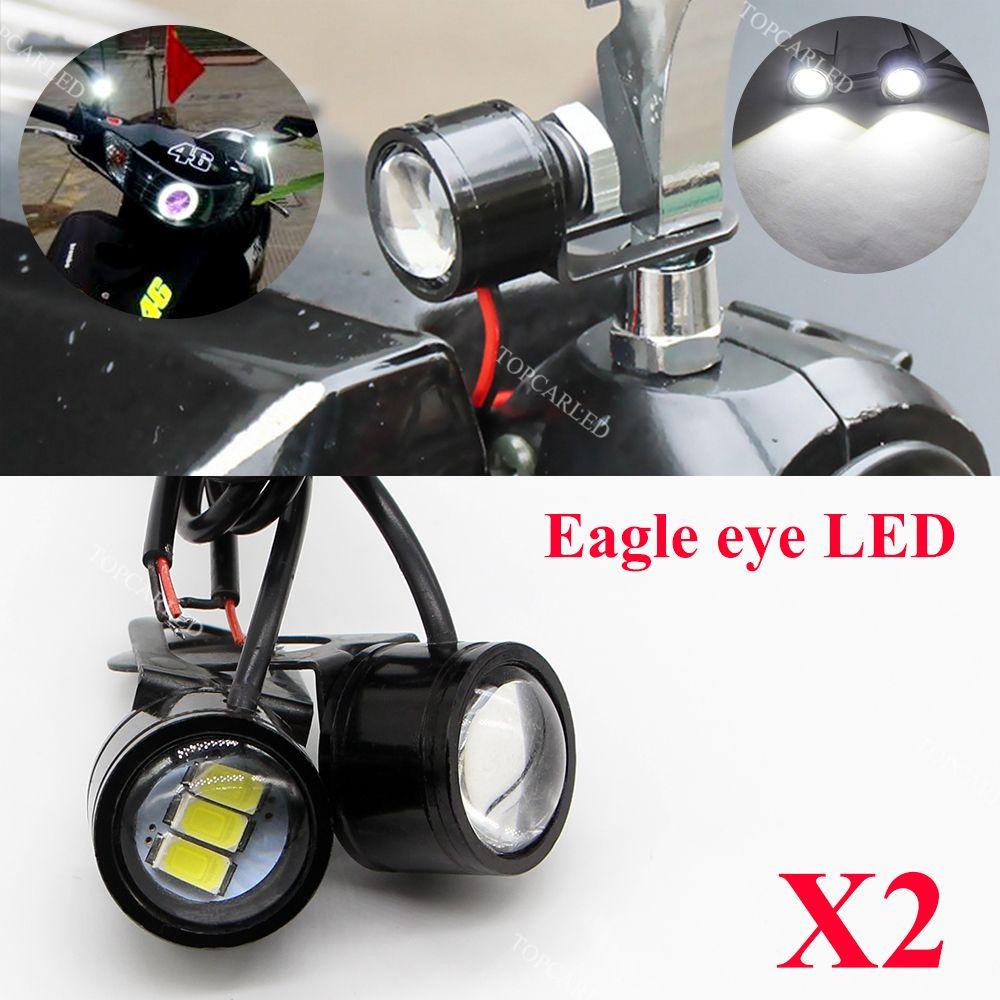 SO.K 2pcs/lot Motorcycle Boat Car Styling 3 5730 SMD LED DRL Eagle Eye LED License Plate Daytime Runing lights 12V