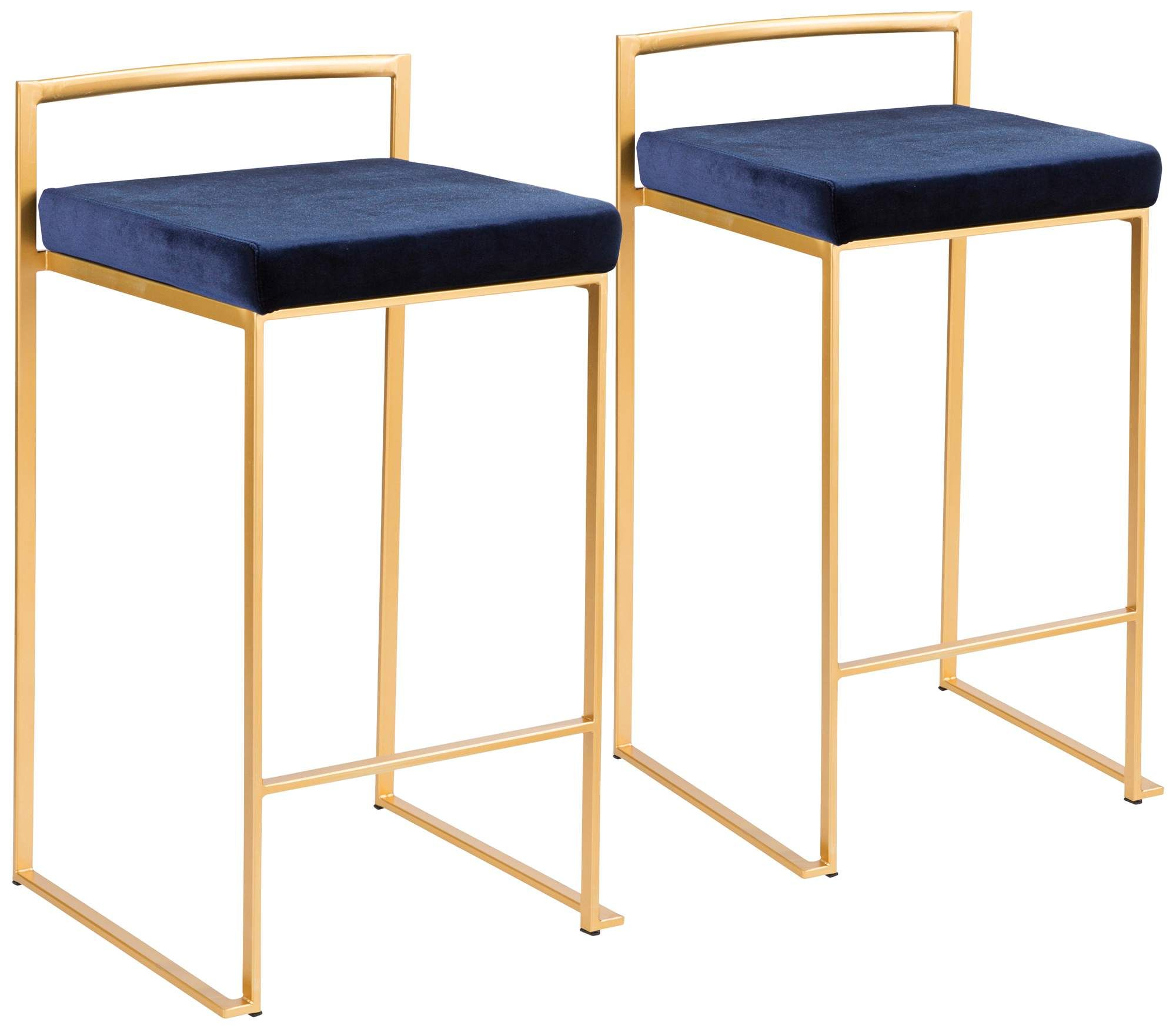 Fuji 27 Inch Blue Velvet Stackable Counter Stools Set Of 2