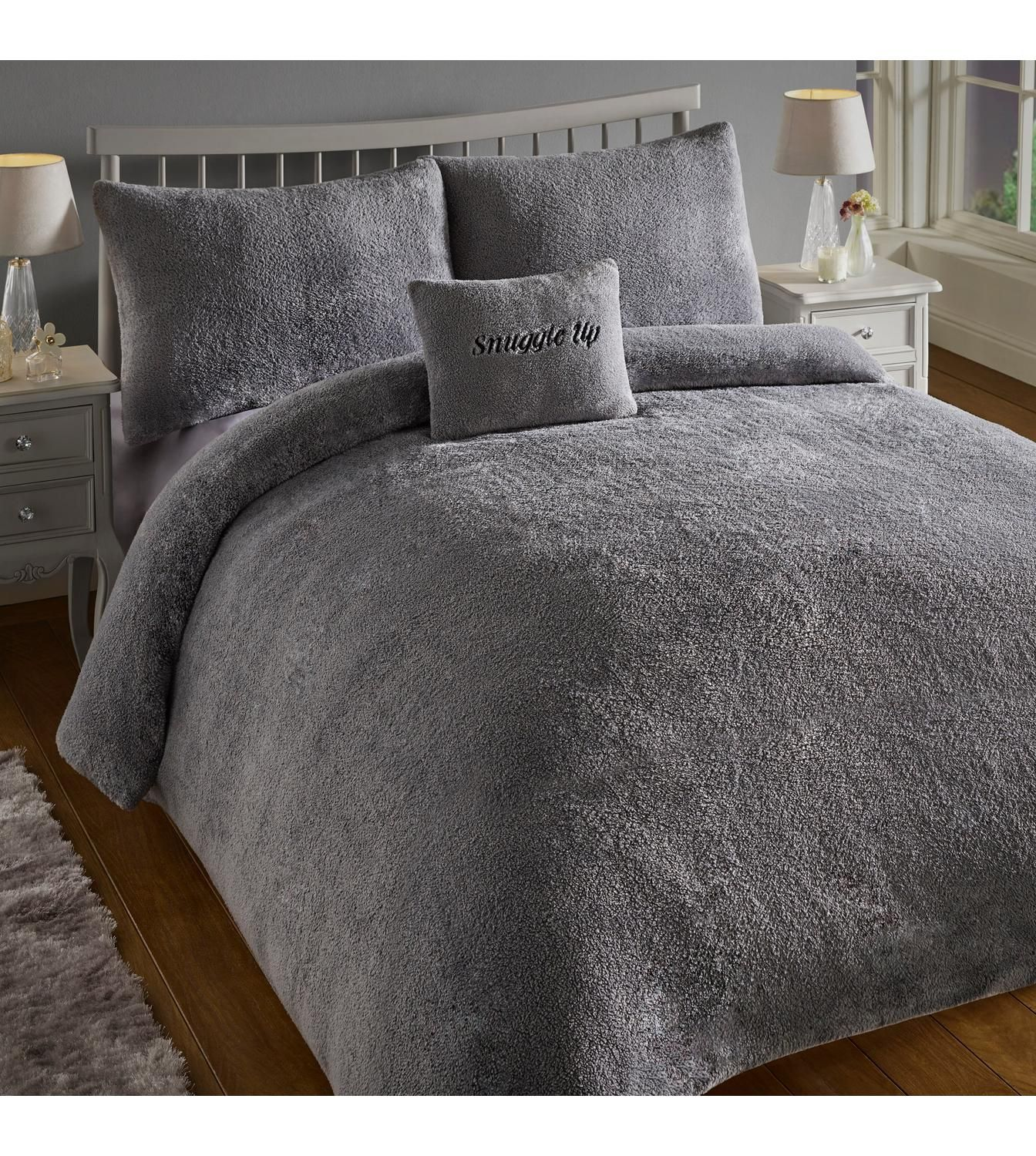 Super Soft Teddy Fleece Duvet Cover Fitted Sheet,Pillowcases Warm /& Cozy