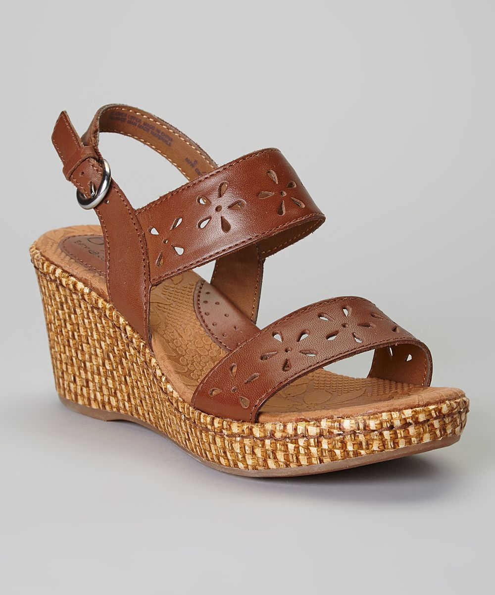 Floral Cutout Leather Wedge Sandal