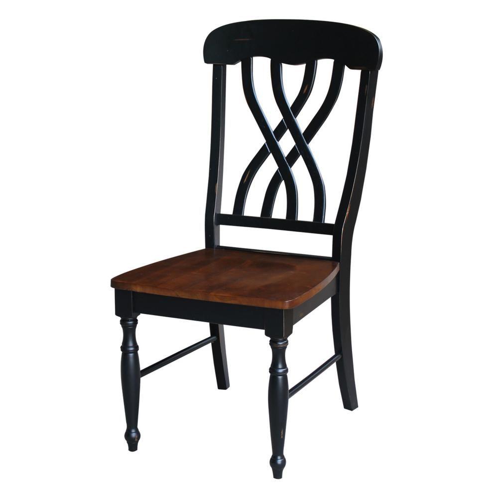 Aged ebony u espresso wood lattice back dining chair set of