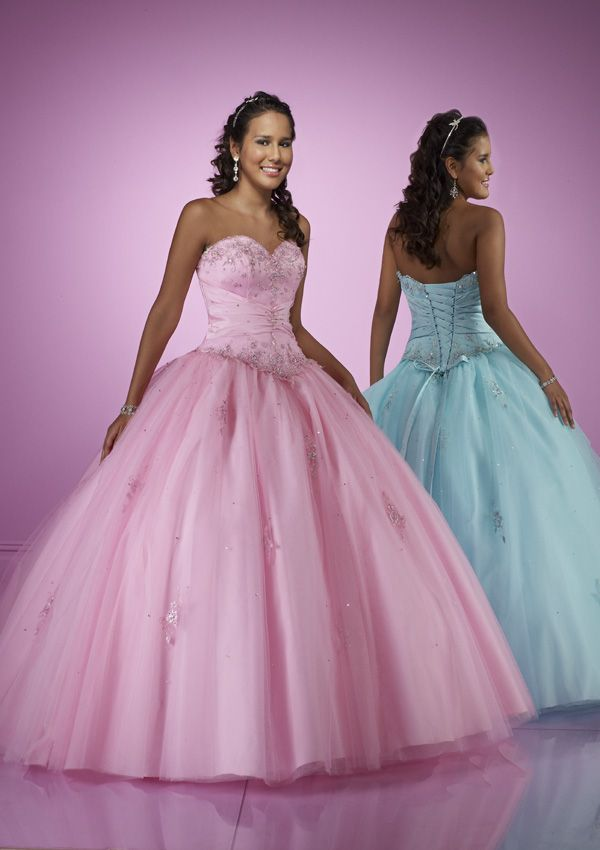 Cute ball gown sweetheart-neck floor-length pink Quinceanera gown ...