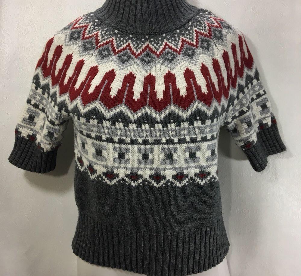 ac95fd01f5198a TOMMY HILFIGER Womens Sweater Size L / Nordic SS Cotton Turtleneck Knit Top  | eBay
