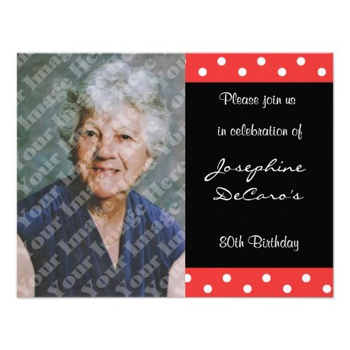 Polka Dot And Red Bubble 80th Birthday Celebration Card 80