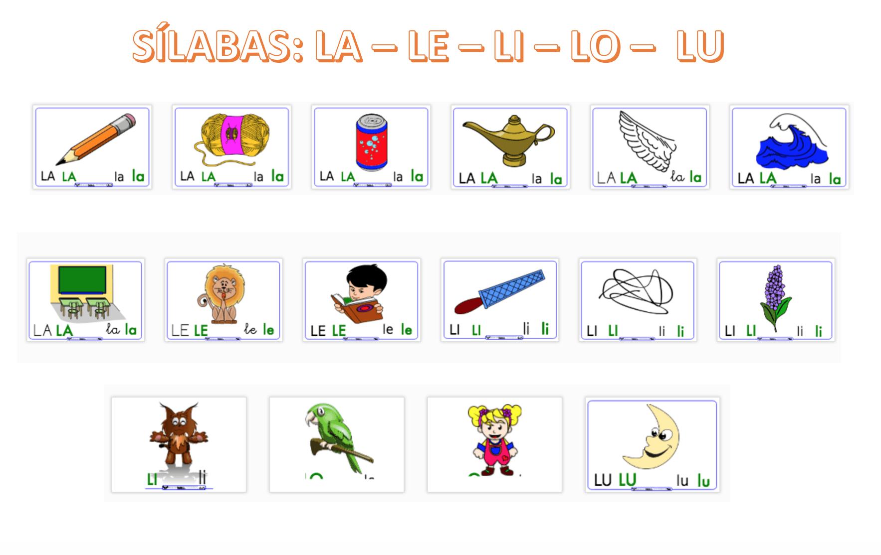 Silaba Dibujo: Dibujos Con Sílabas: La. Le, Li, Lo,Lu