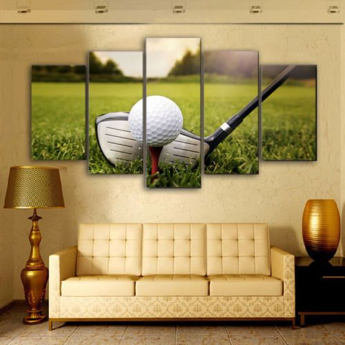 Framed pate golf Course 5pcs Painting Printed Canvas Wall Art Home ...