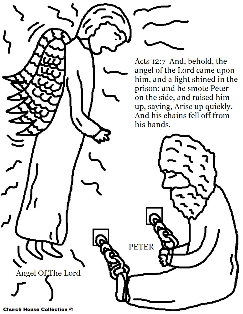 Free Coloring Pages of Peter In Jail With The Angel of The Lord ...