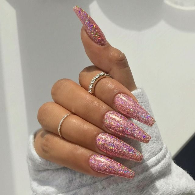 Pink Glitter Acrylic Nails Hair And Nails Pinterest Glitter