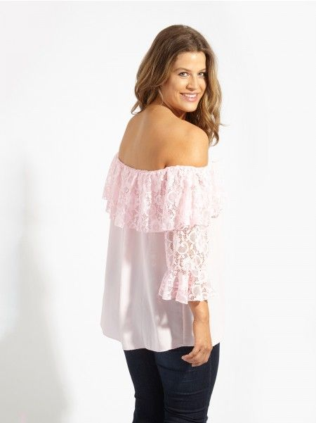 e082429aee80 Lovedrobe GB Candy Pink Lace Bardot Blouse With 3/4 Bell Sleeves - Plus Size