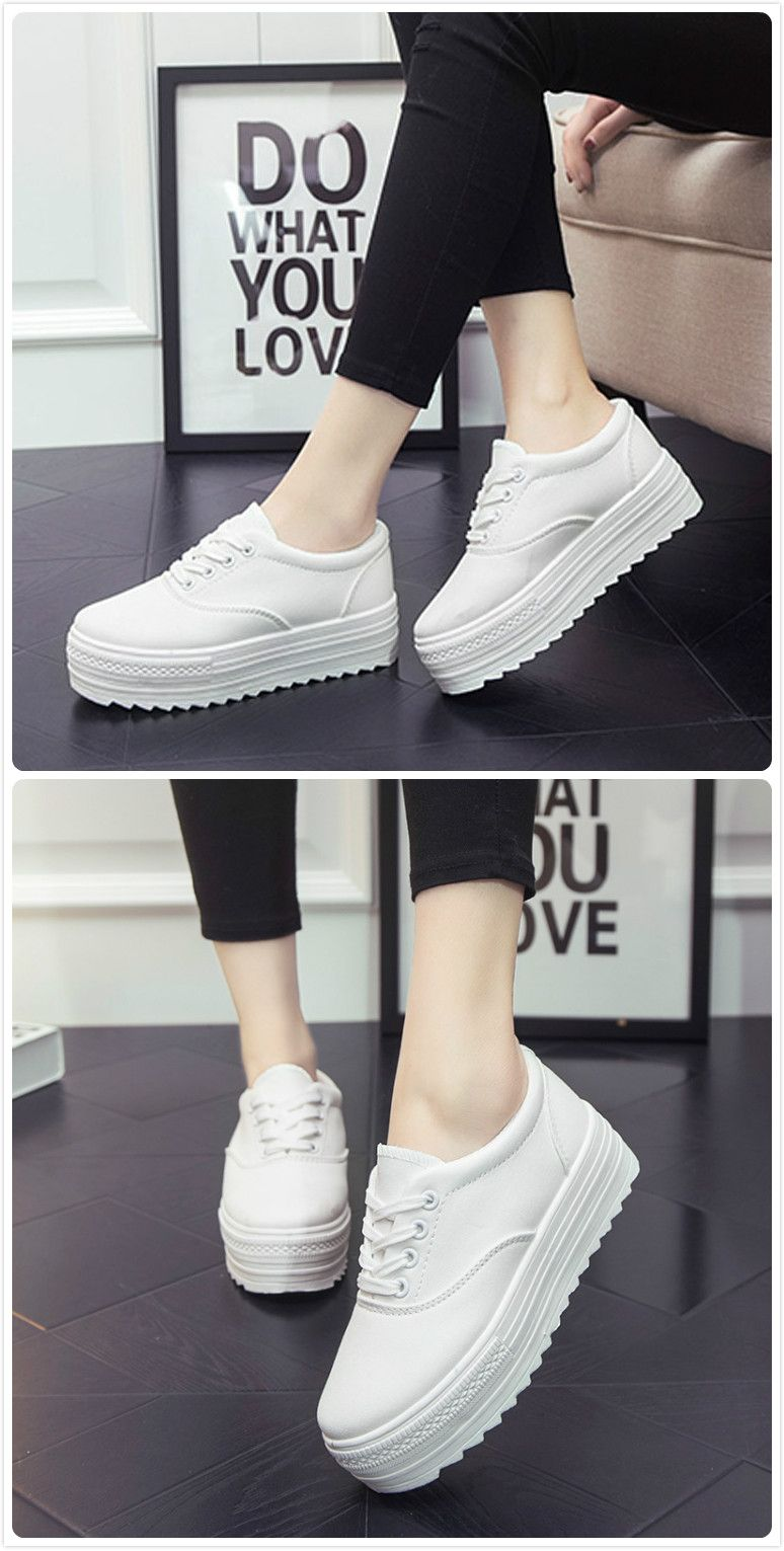 4a8dfa8bc62d Women s Solid Color Lace-up Flat Platform Canvas Sneakers
