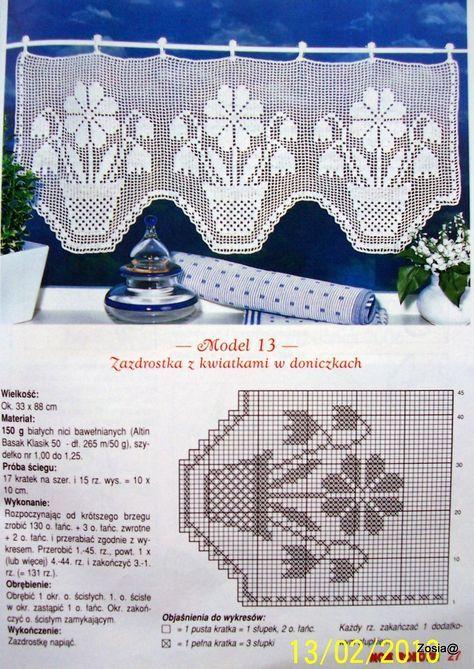 Cortina ganchillo de red Filet crochet curtain | Patrones de ...