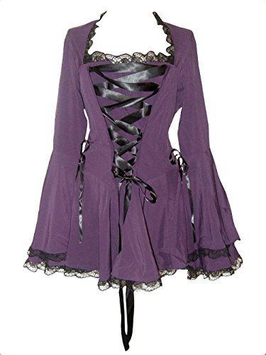 Pizzo gotico corsetto pizzo vampiro Crepuscolo Bell Sleeve Top in due colori classici in misure 10-28 Purple 14-16