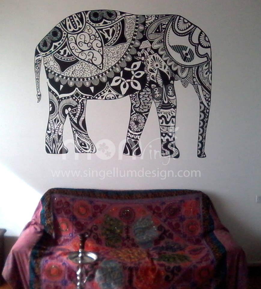 Indian Elephant Mandala Hippie Pared Arte Vinilo Adhesivo Calcomanía Mural regalo de bodas
