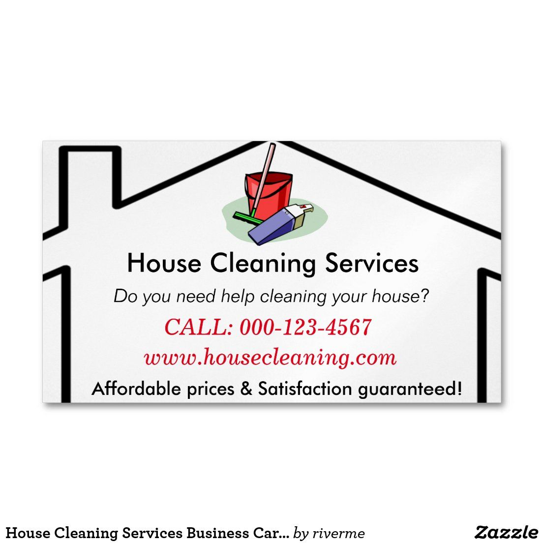 House Cleaning Services Business Card Template Zazzle Com Cleaning Business Cards Free Business Card Templates Business Card Template