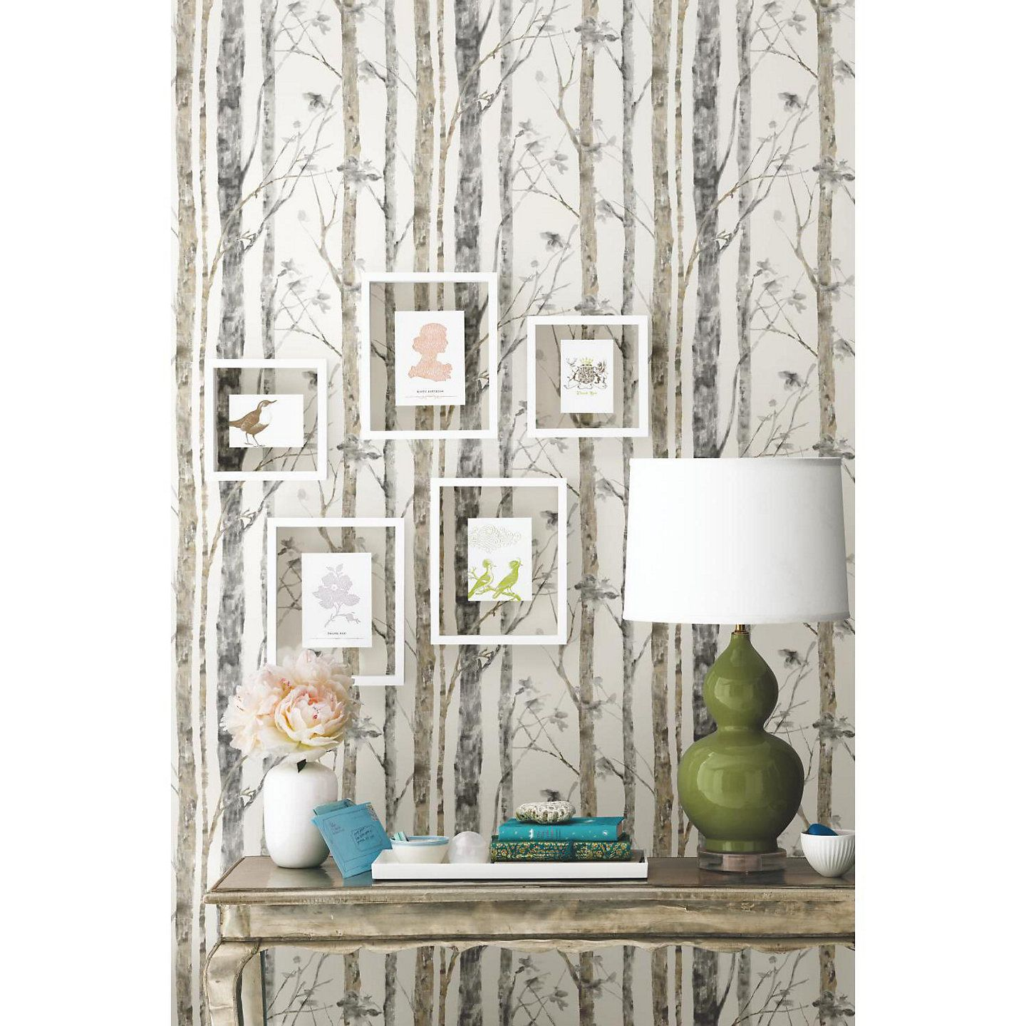 Roommates Faux Birch Trees Peel Stick Wallpaper Wall Decal Birch Tree Wallpaper Wall Wallpaper Peel And Stick Wallpaper