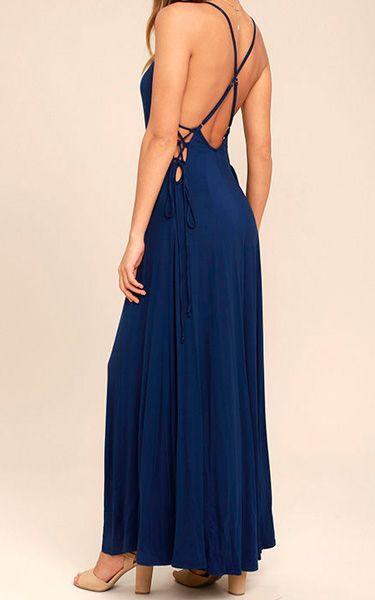 Ever Amazed Navy Blue Lace Up Maxi Dress via @bestmaxidress