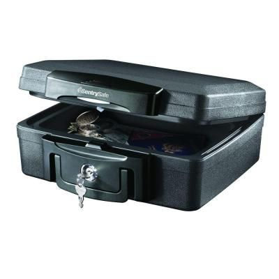 Sentrysafe 0 17 Cu Ft Fire Resistant And Waterproof Chest With Key Lock In Black H0100 At The Home Depot Fire Safe Lockbox Security Safe Box