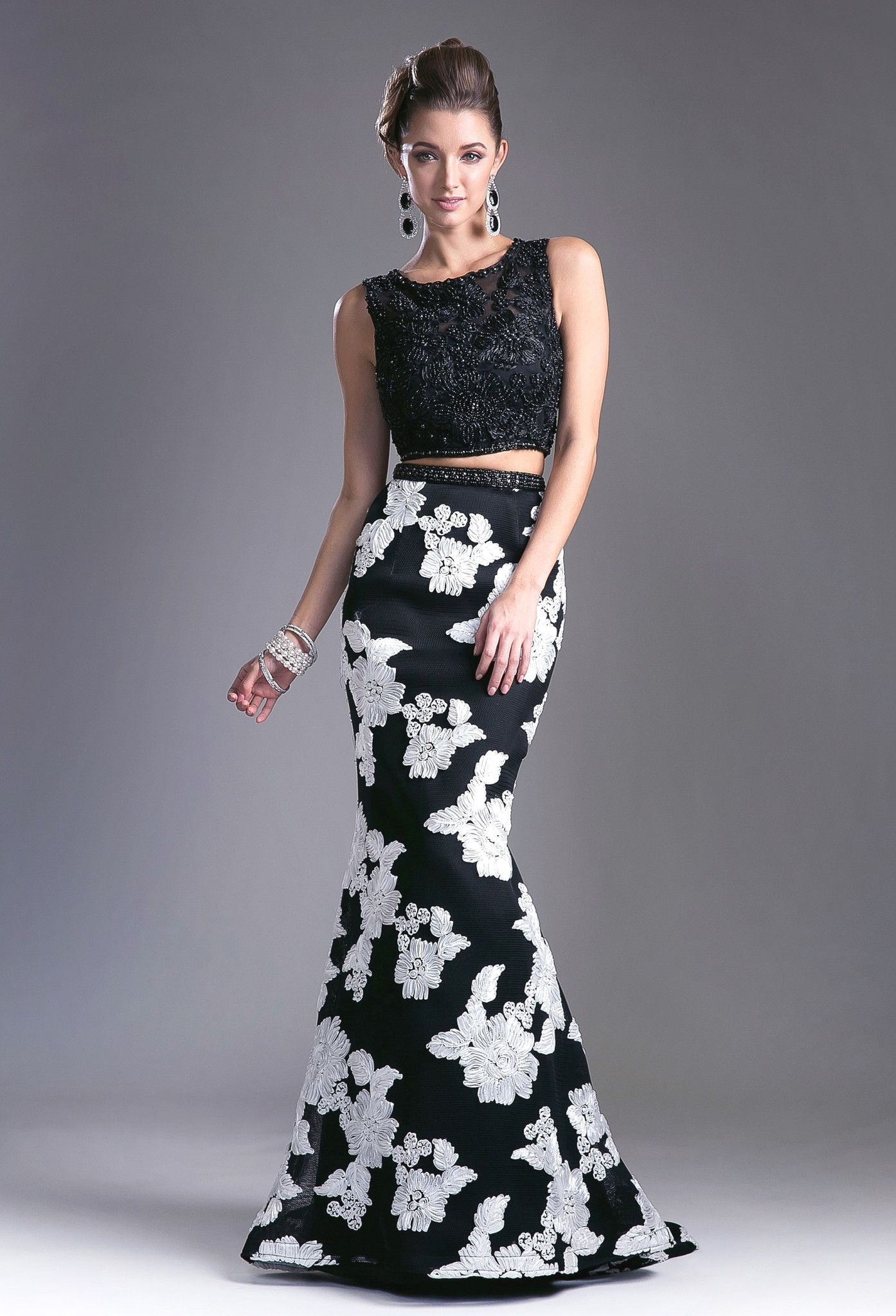 Long two piece dress with floral skirt by cinderella divine