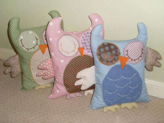 Personalised handmade Owl Cushion by Mamaloops by mamaloops11, £30.00