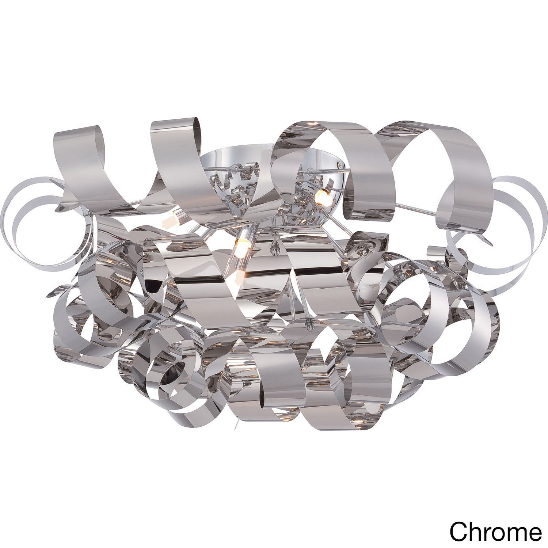 Quoizel Ribbons 6-light Extra Large Flush Mount (Chrome Extra Large Flush Mount), Silver (Metal)
