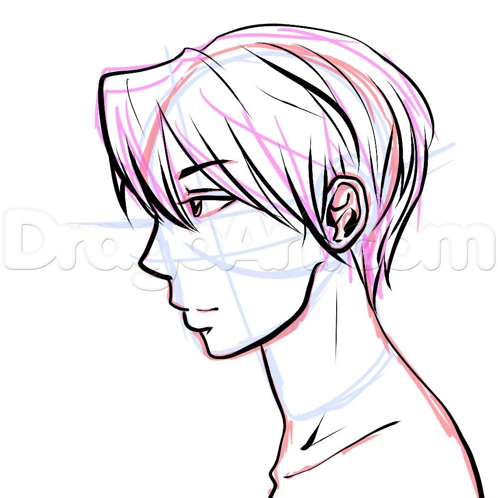 Side view male anime face drawing tutorial step 15
