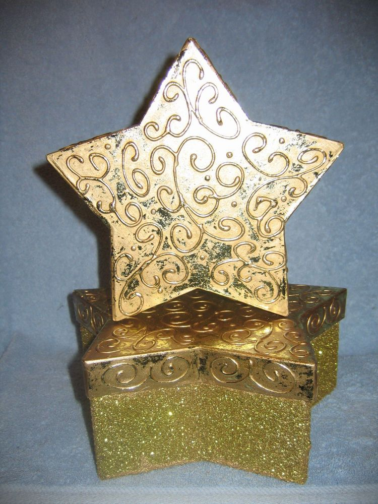 "Homco/Home Interiors""Star Decorative Boxes"" Golden Shiny Glittery Gift Boxes NIB"