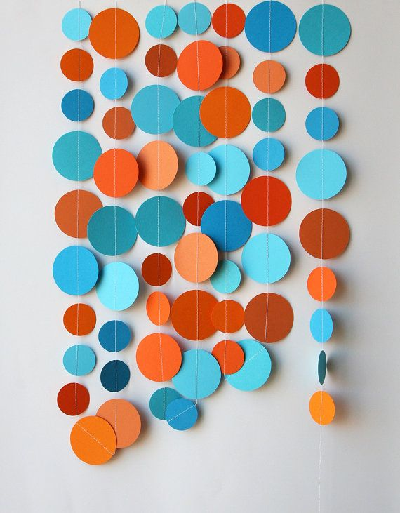 Orange And Aqua: Blue Orange Garland, Beach Wedding, Paper Garland, Blue