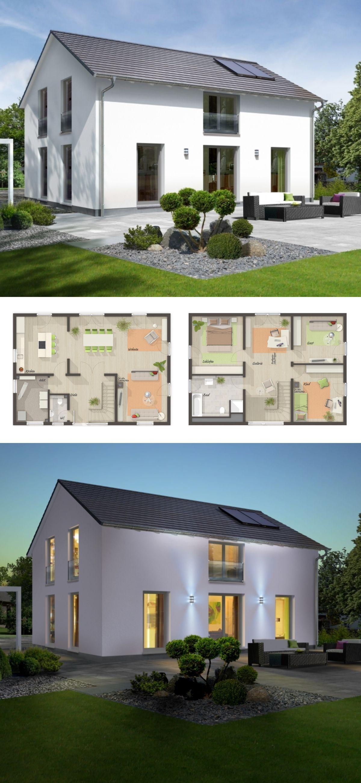 Modernes Landhaus Grundriss mit Galerie & Satteldach Architektur ...