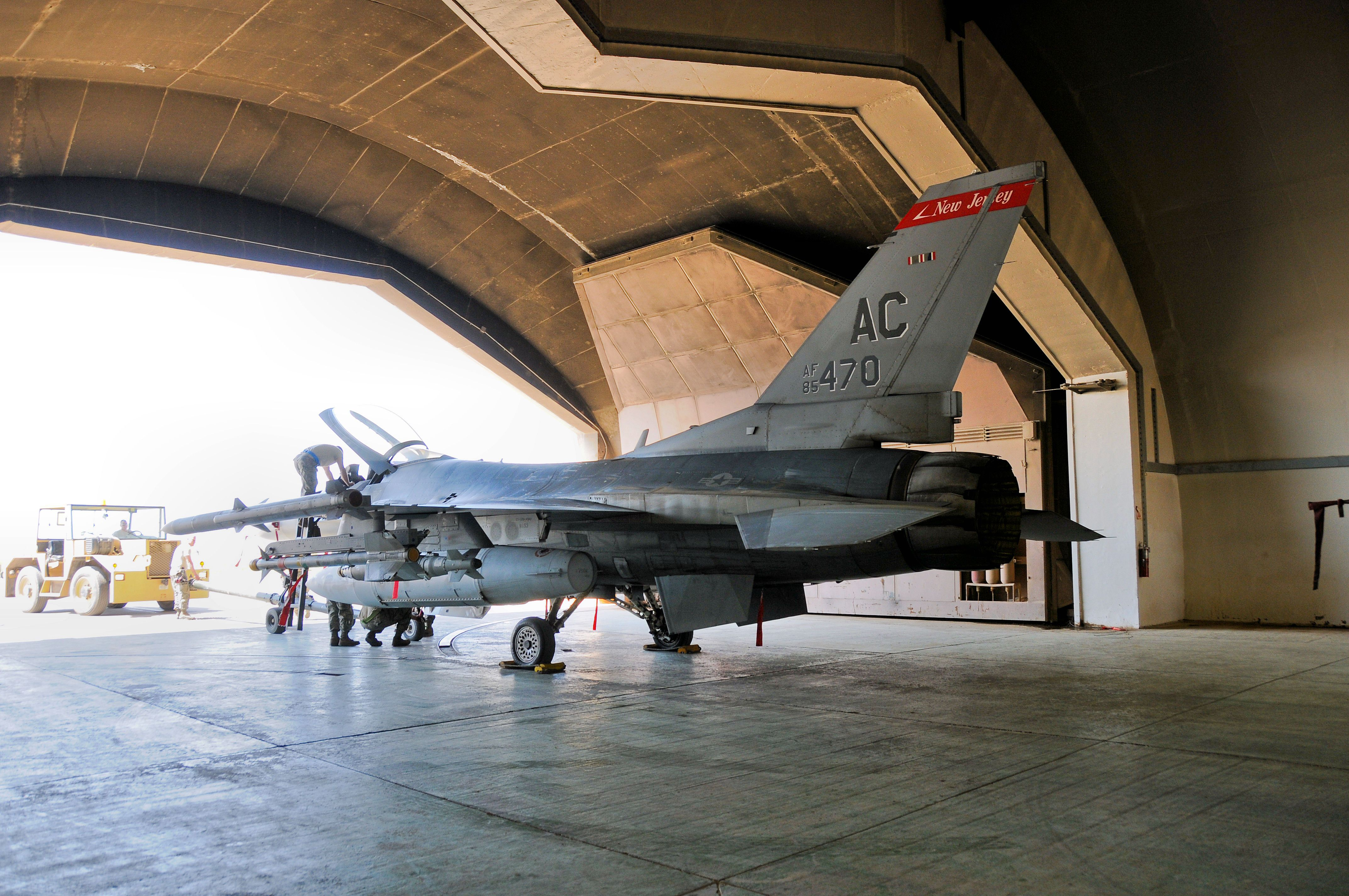 F 16c Fighting Falcon From The 177th Fighter Wing Back In A Hardened Aircraft Shelter Has At Joint Base Balad Iraq On May 4 Fighter Fighter Jets Aircraft
