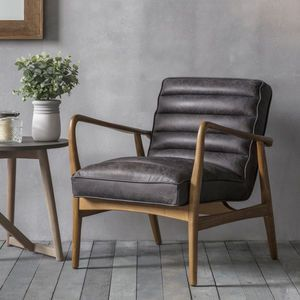 Black Leather Armchair Scandi Home Decor