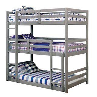 Jody Transitional Triple Twin Bunk Bed By Foa Dark Walnut Kids