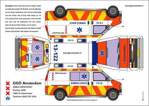 paper engine model bouwplaat ambulance chevrolet