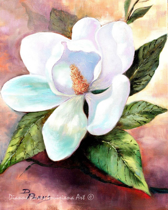 Magnolia Blooms Free Shipping Magnolia Grandiflora Etsy Louisiana Art New Orleans Art Flower Painting