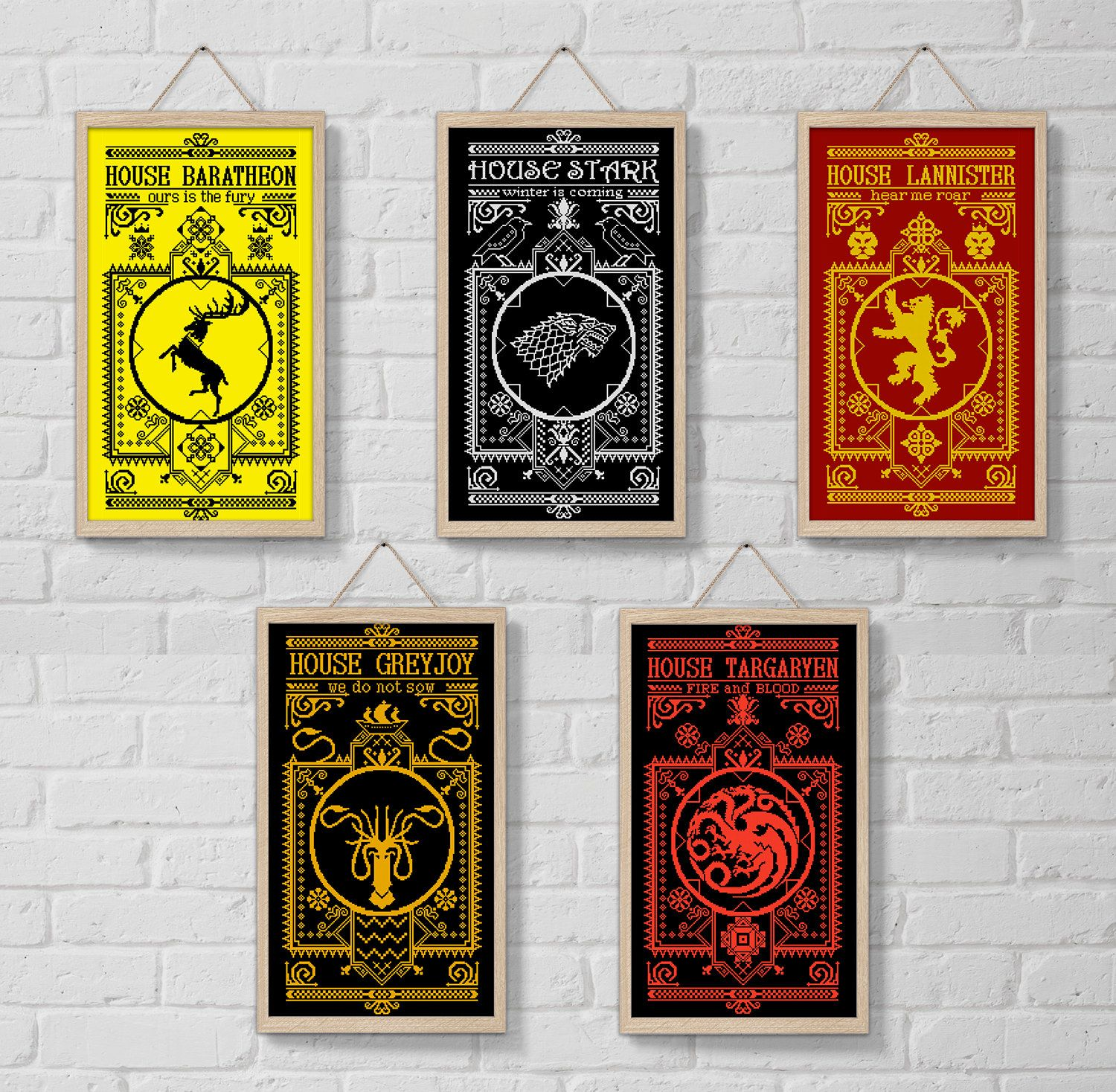 Set 1 Cross Stitch Patterns Houses Game Of Thrones Got Xstitch