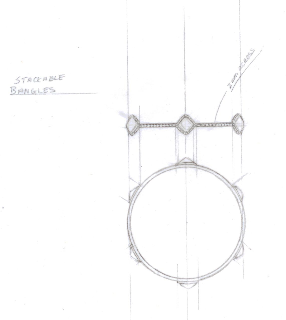 Rough diamond bangle sketch. #drawings #illustration #jewelry #art