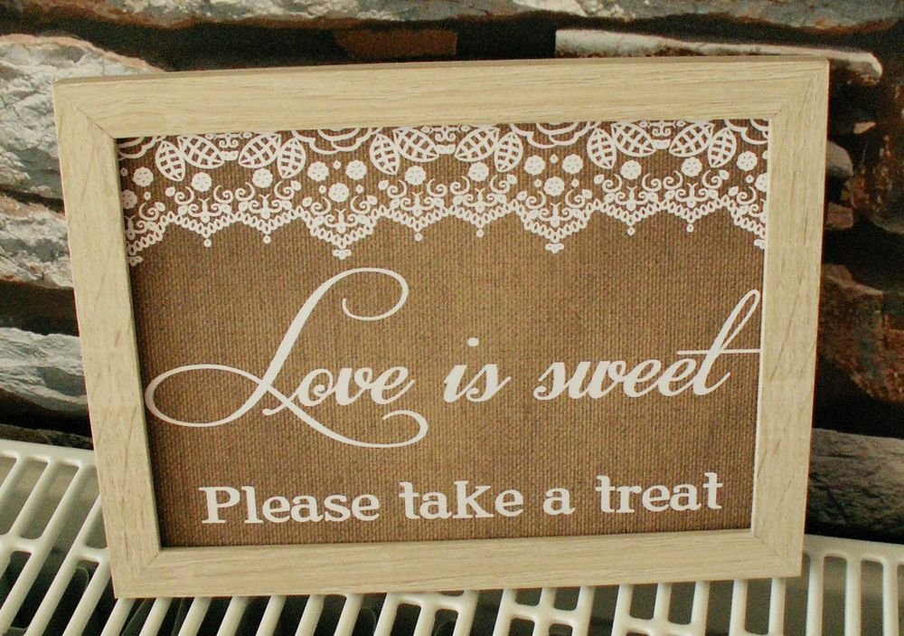 Love Is Sweet Please Take A Treat Lace Burlap Shabby Chic Wedding Candy Bar Sign